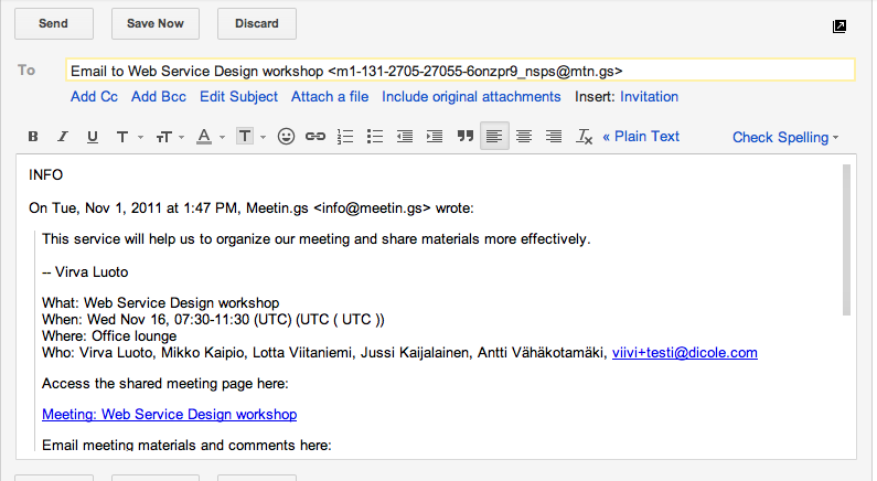 arranging a meeting via email